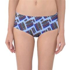 Abstract Pattern Seamless Artwork Mid-Waist Bikini Bottoms