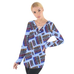 Abstract Pattern Seamless Artwork Women s Tie Up Tee