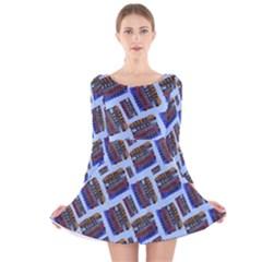 Abstract Pattern Seamless Artwork Long Sleeve Velvet Skater Dress