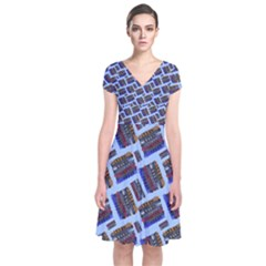 Abstract Pattern Seamless Artwork Short Sleeve Front Wrap Dress