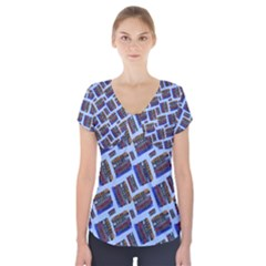 Abstract Pattern Seamless Artwork Short Sleeve Front Detail Top