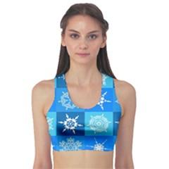 Background Blue Decoration Sports Bra