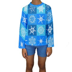 Background Blue Decoration Kids  Long Sleeve Swimwear
