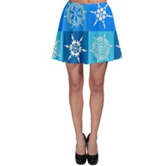 Background Blue Decoration Skater Skirt