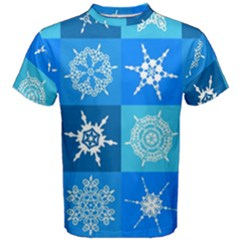 Background Blue Decoration Men s Cotton Tee