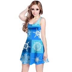 Background Blue Decoration Reversible Sleeveless Dress