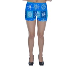 Background Blue Decoration Skinny Shorts