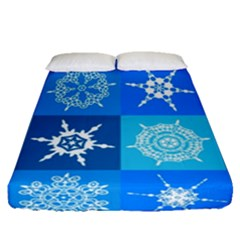 Background Blue Decoration Fitted Sheet (Queen Size)