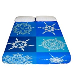 Background Blue Decoration Fitted Sheet (King Size)