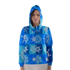 Background Blue Decoration Hooded Wind Breaker (Women)