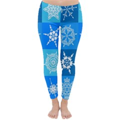 Background Blue Decoration Classic Winter Leggings
