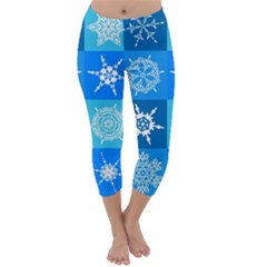 Background Blue Decoration Capri Winter Leggings