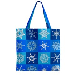Background Blue Decoration Zipper Grocery Tote Bag