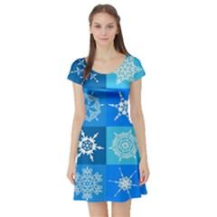 Background Blue Decoration Short Sleeve Skater Dress