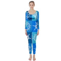 Background Blue Decoration Long Sleeve Catsuit