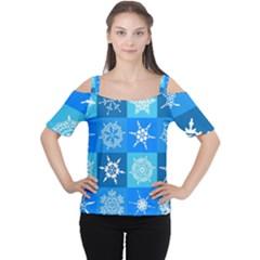Background Blue Decoration Women s Cutout Shoulder Tee