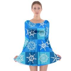 Background Blue Decoration Long Sleeve Skater Dress