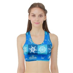 Background Blue Decoration Sports Bra with Border