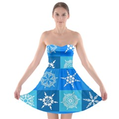 Background Blue Decoration Strapless Bra Top Dress