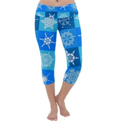 Background Blue Decoration Capri Yoga Leggings