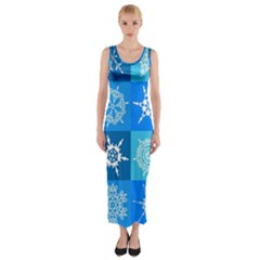Background Blue Decoration Fitted Maxi Dress