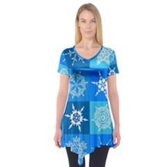 Background Blue Decoration Short Sleeve Tunic