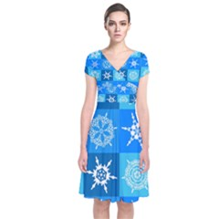 Background Blue Decoration Short Sleeve Front Wrap Dress
