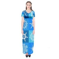 Background Blue Decoration Short Sleeve Maxi Dress