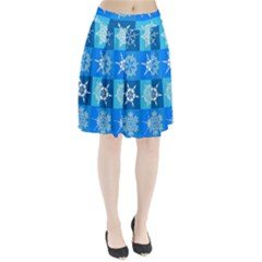 Background Blue Decoration Pleated Skirt