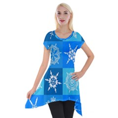Background Blue Decoration Short Sleeve Side Drop Tunic