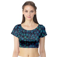 Background Abstract Textile Design Short Sleeve Crop Top (Tight Fit)