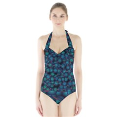 Background Abstract Textile Design Halter Swimsuit