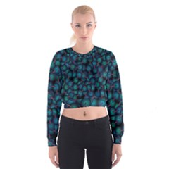 Background Abstract Textile Design Women s Cropped Sweatshirt