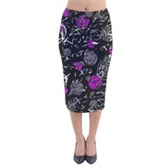 Purple mind Velvet Midi Pencil Skirt
