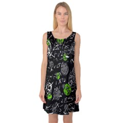 Green mind Sleeveless Satin Nightdress