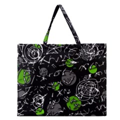 Green mind Zipper Large Tote Bag
