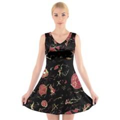Elegant mind V-Neck Sleeveless Skater Dress