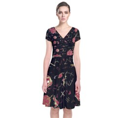 Elegant mind Short Sleeve Front Wrap Dress