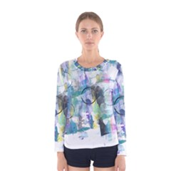 Background Color Circle Pattern Women s Long Sleeve Tee