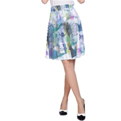 Background Color Circle Pattern A-Line Skirt