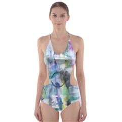 Background Color Circle Pattern Cut-Out One Piece Swimsuit