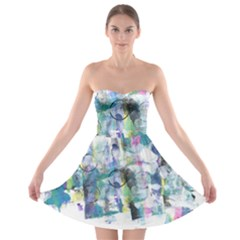 Background Color Circle Pattern Strapless Bra Top Dress