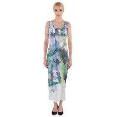 Background Color Circle Pattern Fitted Maxi Dress