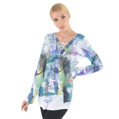 Background Color Circle Pattern Women s Tie Up Tee