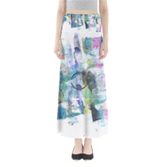 Background Color Circle Pattern Maxi Skirts