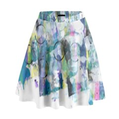 Background Color Circle Pattern High Waist Skirt