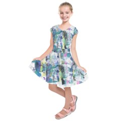 Background Color Circle Pattern Kids  Short Sleeve Dress
