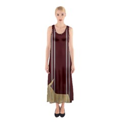 Background Texture Distress Sleeveless Maxi Dress