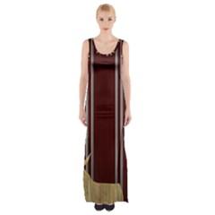 Background Texture Distress Maxi Thigh Split Dress
