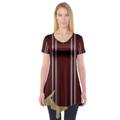 Background Texture Distress Short Sleeve Tunic